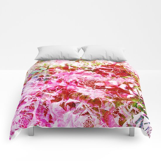 abstract succulent in pink Comforters