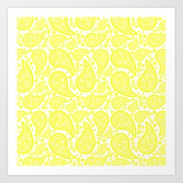 Paisley (Yellow & White Pattern) Art Print