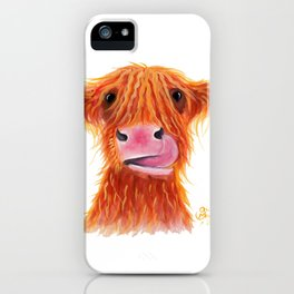 Scottish Highland Cow ' GaRLiC ' by Shirley MacArthur iPhone Case