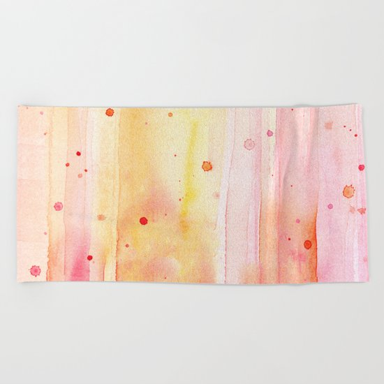 Pink Orange Rain Watercolor Texture Splatters Beach Towel