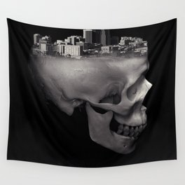 Urban Skull Horror Black and White City Wall Tapestry
