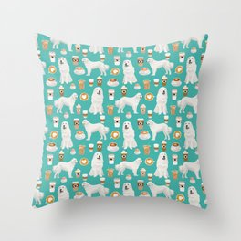 Great Pyrenees coffee lover pattern print gifts for dog breed unique dog person Throw Pillow