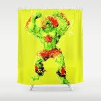 street fighter Shower Curtains featuring Street Fighter II - Blanka by Carlo Spaziani
