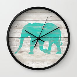 Turquoise Elephant on White Wood A222b Wall Clock