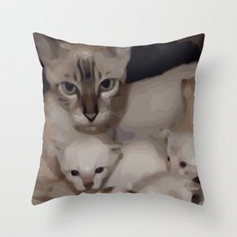 Luna the snow bengal cat with her kittens Throw Pillow