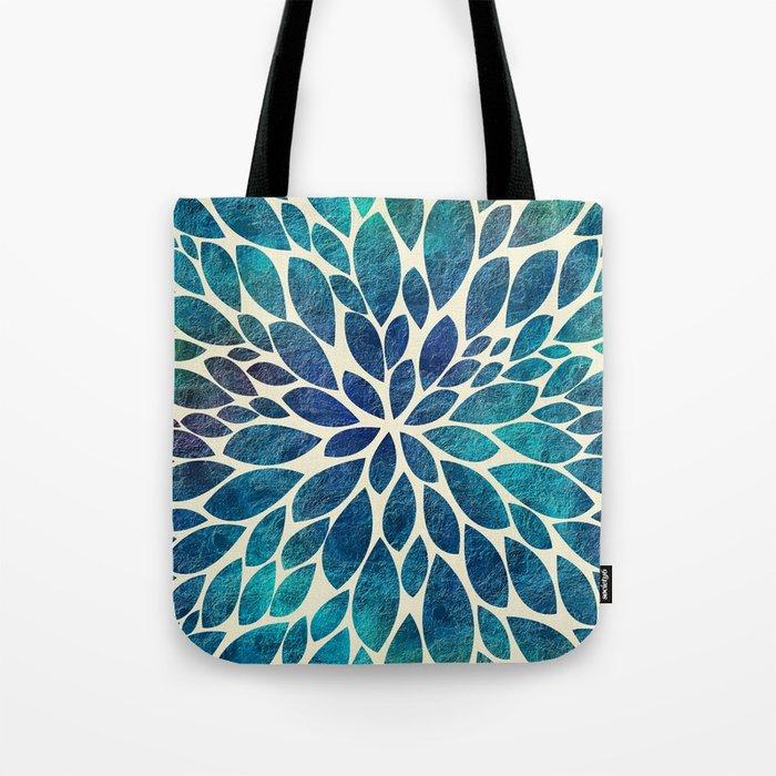 Petal Burst - Turquoise Tote Bag