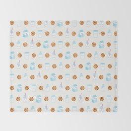 Milk and Cookies Pattern on Cream Throw Blanket
