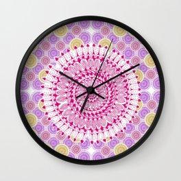 Pink, Gold, and Purple Mandala Pattern Wall Clock