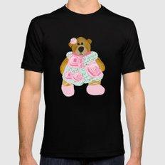 Rose Bear Black Mens Fitted Tee MEDIUM
