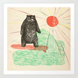 Bustin' Surfboards Bear Art Print