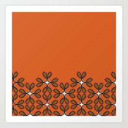 Paisly en fleurs treillis de base orange Art Print