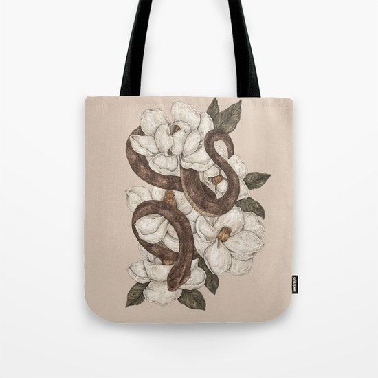 Snake and Magnolias Tote Bag