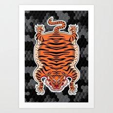 TIBETAN TIGER (black) Art Print