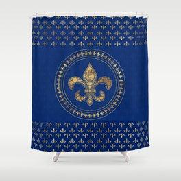 Fleur-de-lis - Gold and Royal Blue Shower Curtain