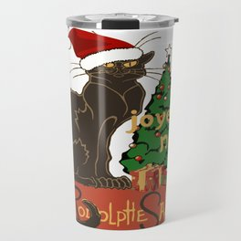 Joyeux Noel Le Chat Noir With Tree And Gifts Travel Mug