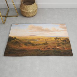 View of Geelong by Eu von Guerard Date 1856  Romanticism  Landscape Rug