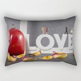 little figures on love text dancing Rectangular Pillow