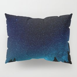 Black Trees Turquoise Milky Way Stars Pillow Sham