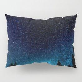 Black Trees Turquoise Milky Way Stars Pillow Sham