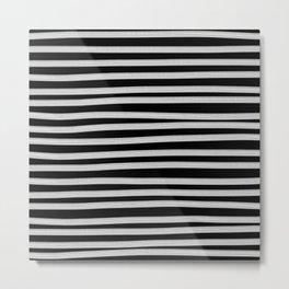 Black and White Brush Stroke Stripes Metal Print