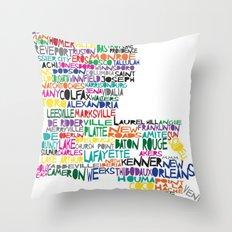 Louisiana Typography Throw Pillow