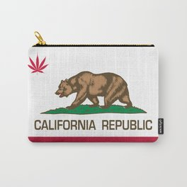 California Republic state flag with red Cannabis leaf Carry-All Pouch