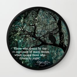 """""""Those Who Dream by Day"""" Owl in Tree with Quote by Edgar Allan Poe Wall Clock"""