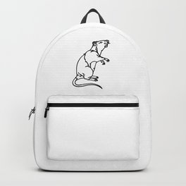 A Rat Standing on its legs Sniffing Backpack