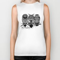 feathers Biker Tanks featuring Owls of the Nile by Rachel Caldwell