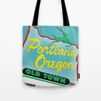 portland Tote Bags featuring Portland by Casey Baggz