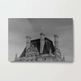 Moon Over French Castle Metal Print
