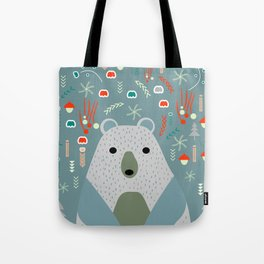 Winter pattern with baby bear Tote Bag