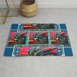 WESTERN STYLE DESERT AGAVE PAINTING BLUE PATTERN Rug
