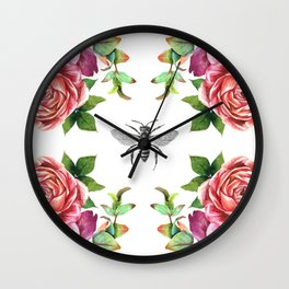 Honey Bee with Floral Watecolor Wall Clock