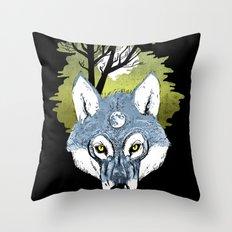 Wolf Phase Throw Pillow