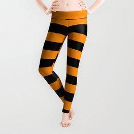 Dark Pumpkin Orange and Black Halloween Beach Hut Stripes Leggings