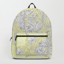 Sunny Doodle Mandala in Yellow & Grey Backpack