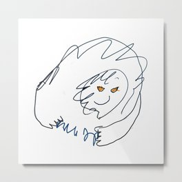 Evil space mastermind with lightning fingers Metal Print