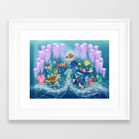 finding nemo Framed Art Prints featuring Sea Wallpainting by princessbeautycase