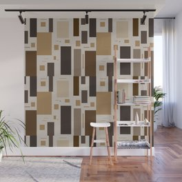 Retro Squares in Browns and Golds Wall Mural