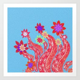Octopus Garden No. 4 Surreal Simple Boho Floral Stamp Print Art Print