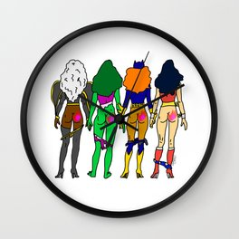 Superhero Butts Love 2 - Team Girls Wall Clock
