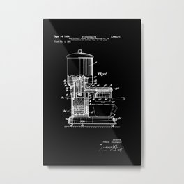 Espresso Machine Patent Artwork - White on Black Metal Print