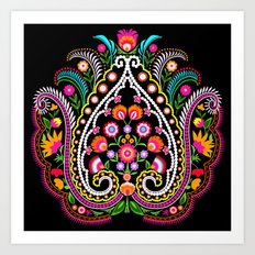 folk damask Art Print