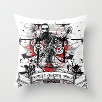zombie Throw Pillows featuring Zombie by DaeSyne Artworks
