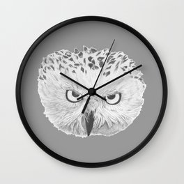 Snowy Owl Grey Wall Clock