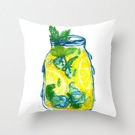 Watercolor - Iced Lemon Mint Tea Throw Pillow
