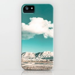 Vintage Desert Snow Cloud // Scenic Desert Landscape in Winter Fluffy Clouds Snow Mountains Cacti iPhone Case