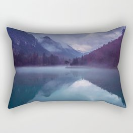 Mountain Valley Lake Purple And Blue Colors Rectangular Pillow