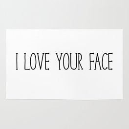 I Love Your Face - Black and White Rug